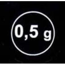 """Стикер """"0,5g"""" белый  в кружке"""