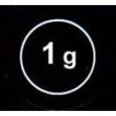 """Стикер """"1g"""" белый в круж."""